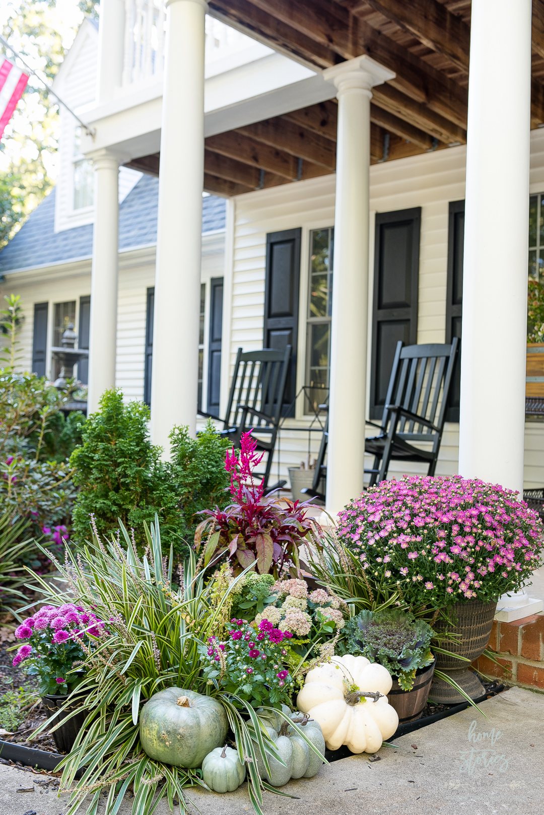 fall porch decorations and flowers